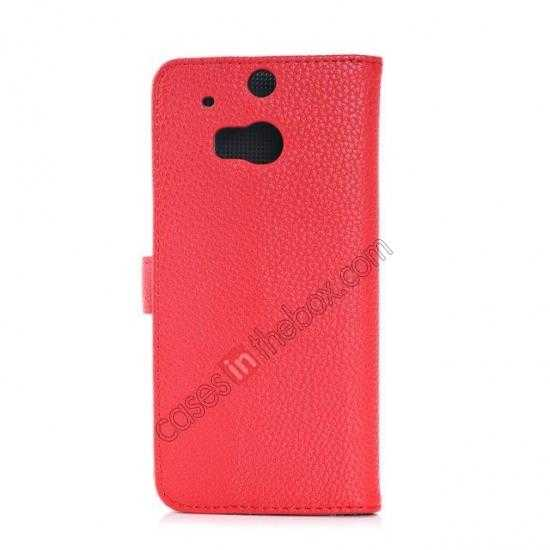 cheap Lichee Pattern Leather Stand Case for HTC One 2 M8 With Card Slots - Red