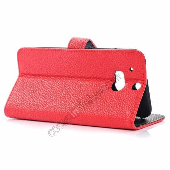 top quality Lichee Pattern Leather Stand Case for HTC One 2 M8 With Card Slots - Red