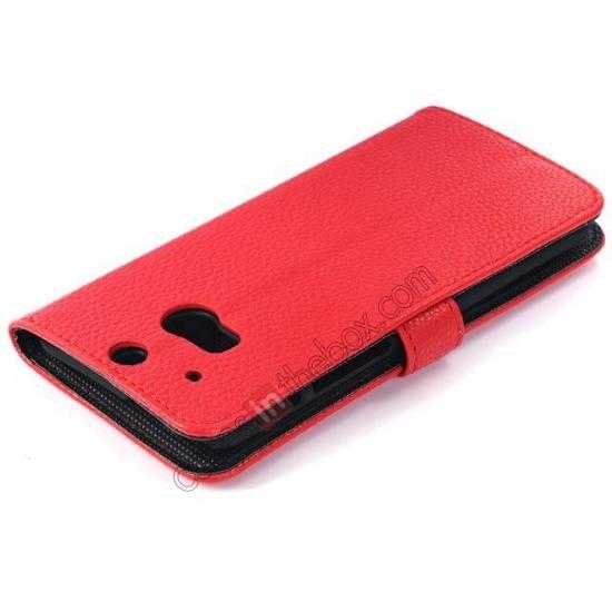 best price Lichee Pattern Leather Stand Case for HTC One 2 M8 With Card Slots - Red
