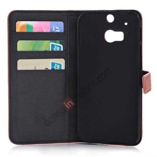 low price Lichee Pattern Leather Stand Case for HTC One 2 M8 With Card Slots - Red