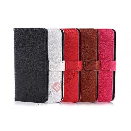 high quanlity Lichee Pattern Leather Stand Case for HTC One 2 M8 With Card Slots - Red
