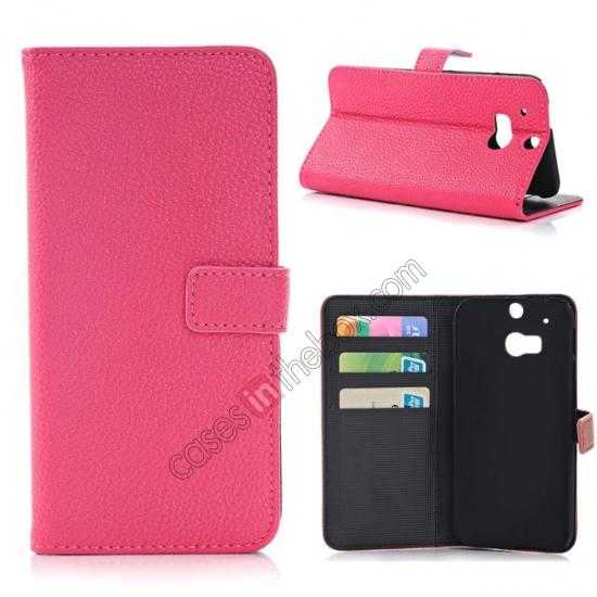 wholesale Lichee Pattern Leather Stand Case for HTC One 2 M8 With Card Slots - Rose