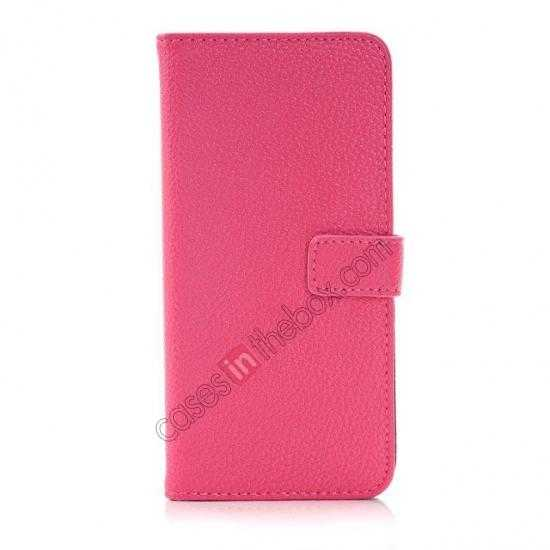 discount Lichee Pattern Leather Stand Case for HTC One 2 M8 With Card Slots - Rose