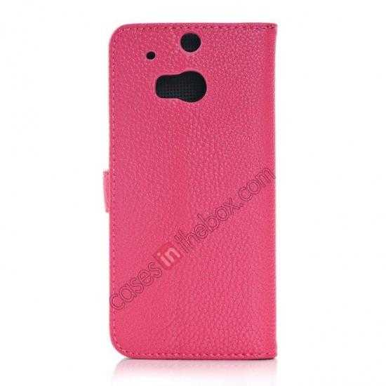 cheap Lichee Pattern Leather Stand Case for HTC One 2 M8 With Card Slots - Rose