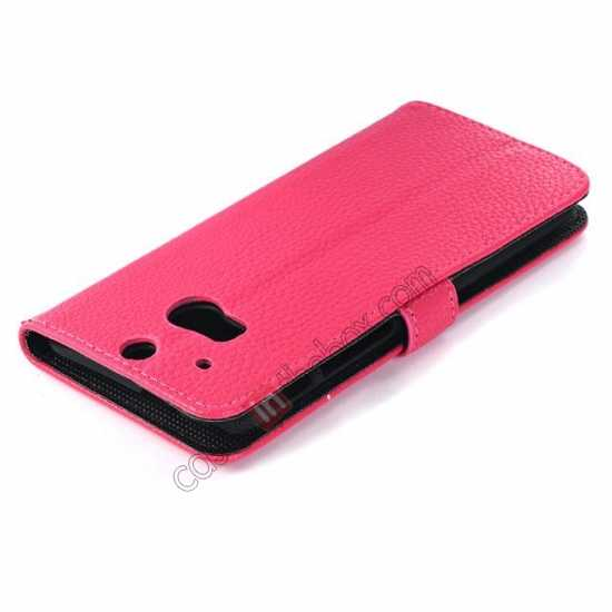 best price Lichee Pattern Leather Stand Case for HTC One 2 M8 With Card Slots - Rose