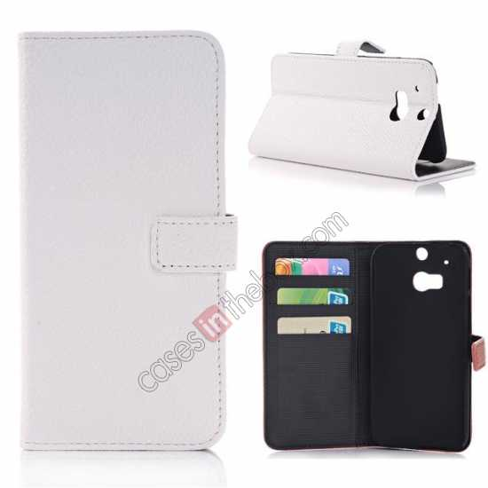 wholesale Lichee Pattern Leather Stand Case for HTC One 2 M8 With Card Slots - White