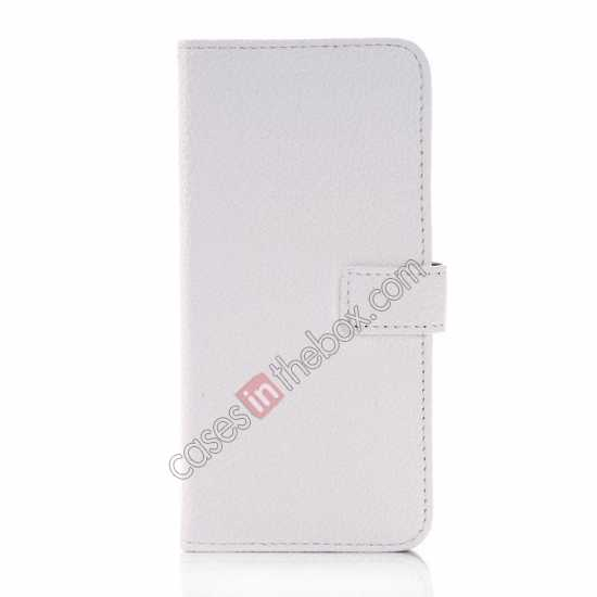 discount Lichee Pattern Leather Stand Case for HTC One 2 M8 With Card Slots - White