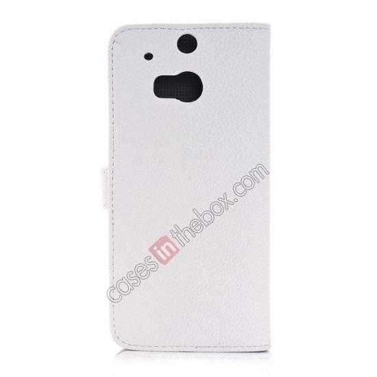 cheap Lichee Pattern Leather Stand Case for HTC One 2 M8 With Card Slots - White