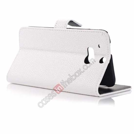 top quality Lichee Pattern Leather Stand Case for HTC One 2 M8 With Card Slots - White