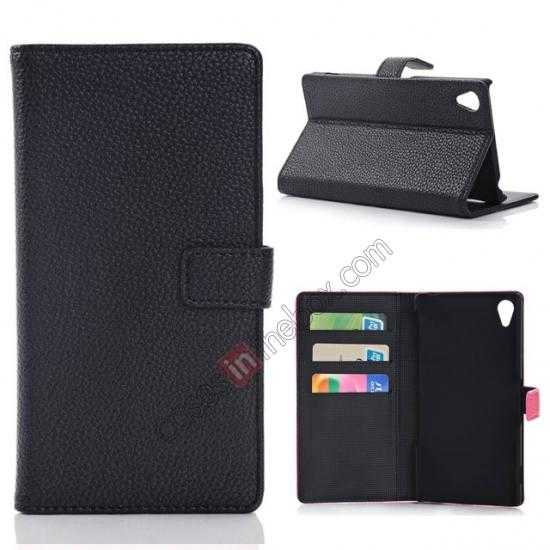 wholesale Lichee Pattern Leather Stand Case for Sony Xperia Z2 With Card Slots - Black