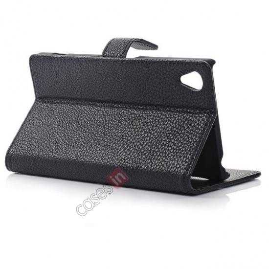 top quality Lichee Pattern Leather Stand Case for Sony Xperia Z2 With Card Slots - Black