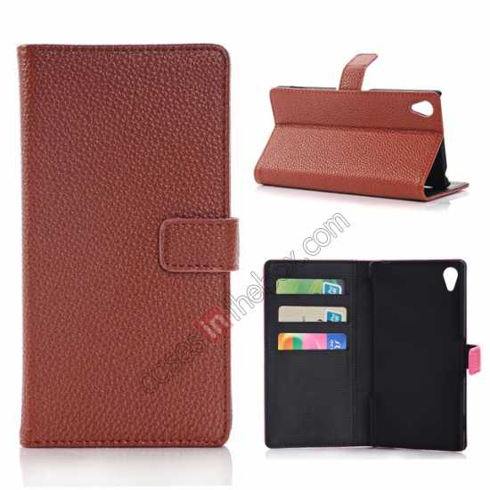 wholesale Lichee Pattern Leather Stand Case for Sony Xperia Z2 With Card Slots - Brown