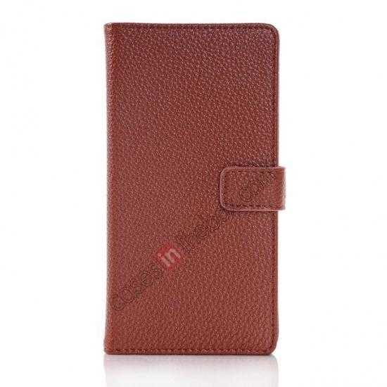 discount Lichee Pattern Leather Stand Case for Sony Xperia Z2 With Card Slots - Brown