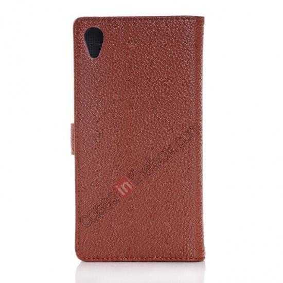 cheap Lichee Pattern Leather Stand Case for Sony Xperia Z2 With Card Slots - Brown