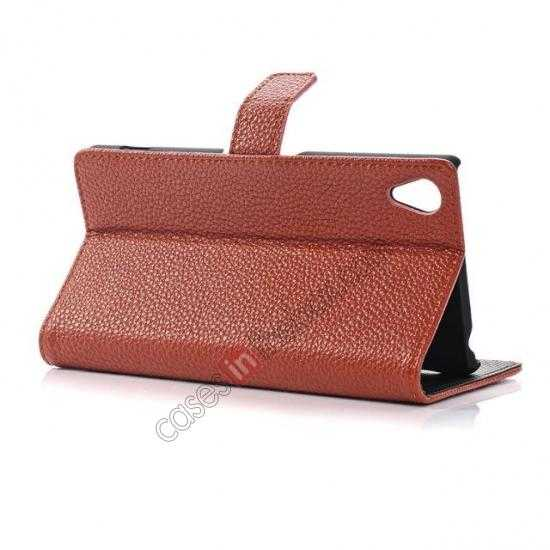 top quality Lichee Pattern Leather Stand Case for Sony Xperia Z2 With Card Slots - Brown