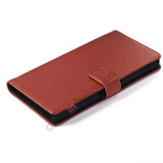 best price Lichee Pattern Leather Stand Case for Sony Xperia Z2 With Card Slots - Brown