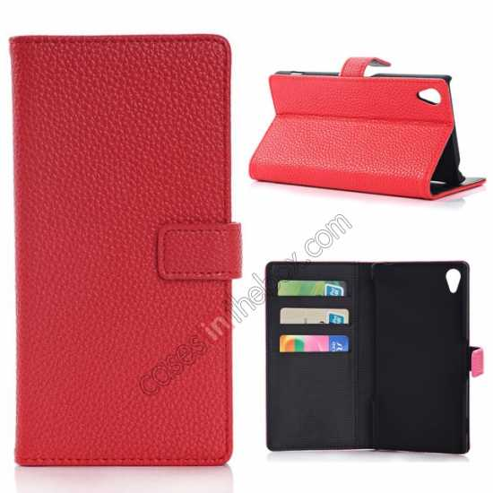 wholesale Lichee Pattern Leather Stand Case for Sony Xperia Z2 With Card Slots - Red
