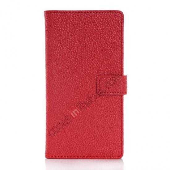 discount Lichee Pattern Leather Stand Case for Sony Xperia Z2 With Card Slots - Red