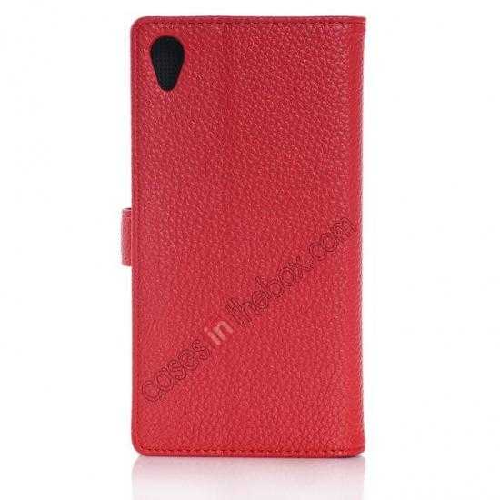 cheap Lichee Pattern Leather Stand Case for Sony Xperia Z2 With Card Slots - Red