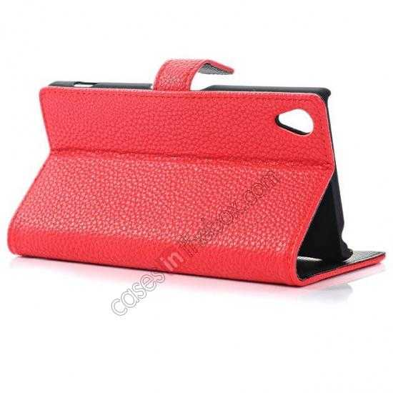 top quality Lichee Pattern Leather Stand Case for Sony Xperia Z2 With Card Slots - Red