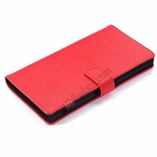 best price Lichee Pattern Leather Stand Case for Sony Xperia Z2 With Card Slots - Red