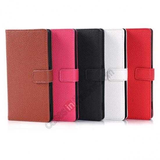 high quanlity Lichee Pattern Leather Stand Case for Sony Xperia Z2 With Card Slots - Red