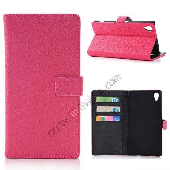 wholesale Lichee Pattern Leather Stand Case for Sony Xperia Z2 With Card Slots - Rose