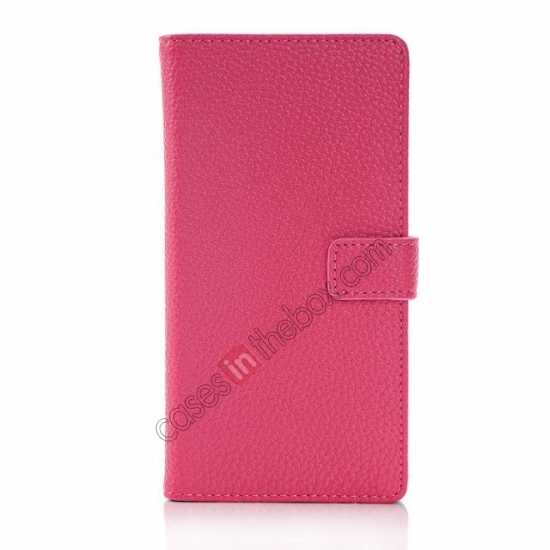 discount Lichee Pattern Leather Stand Case for Sony Xperia Z2 With Card Slots - Rose