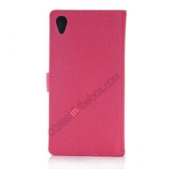 cheap Lichee Pattern Leather Stand Case for Sony Xperia Z2 With Card Slots - Rose