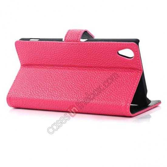 top quality Lichee Pattern Leather Stand Case for Sony Xperia Z2 With Card Slots - Rose