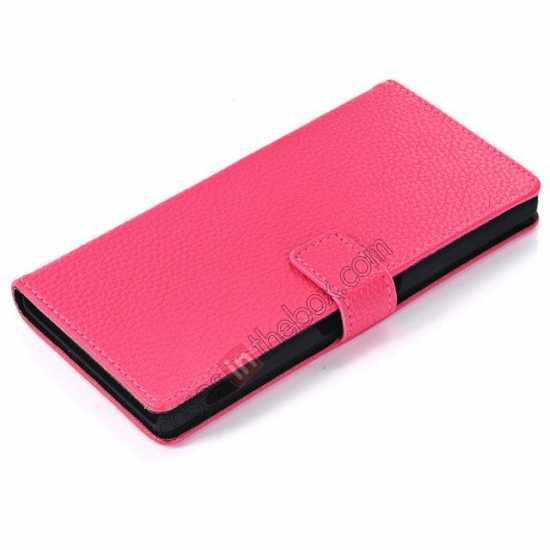 best price Lichee Pattern Leather Stand Case for Sony Xperia Z2 With Card Slots - Rose