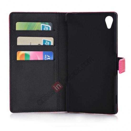 low price Lichee Pattern Leather Stand Case for Sony Xperia Z2 With Card Slots - Rose