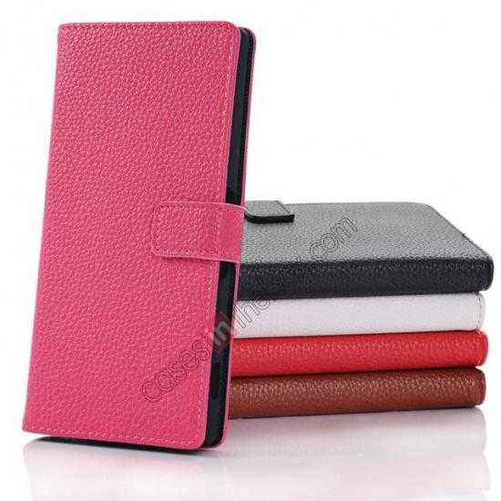 high quanlity Lichee Pattern Leather Stand Case for Sony Xperia Z2 With Card Slots - Rose