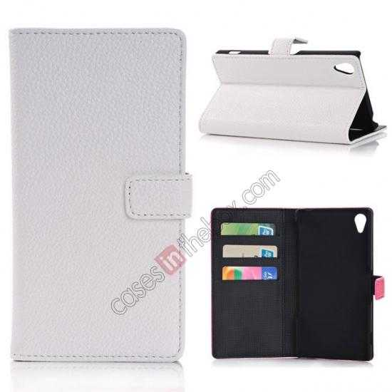 wholesale Lichee Pattern Leather Stand Case for Sony Xperia Z2 With Card Slots - White