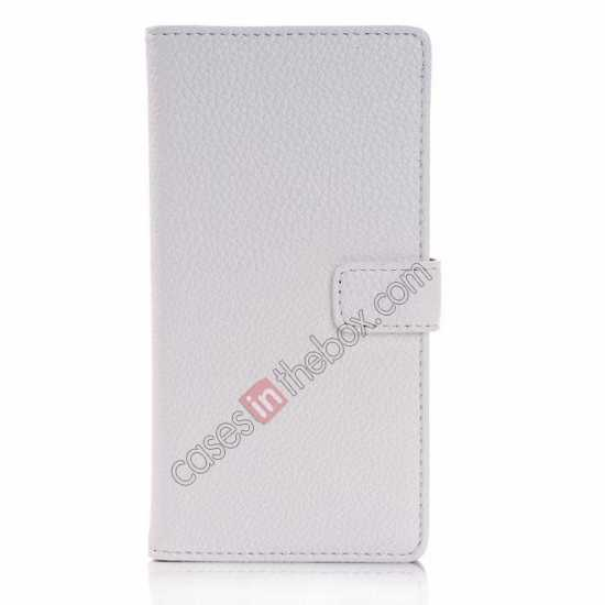discount Lichee Pattern Leather Stand Case for Sony Xperia Z2 With Card Slots - White