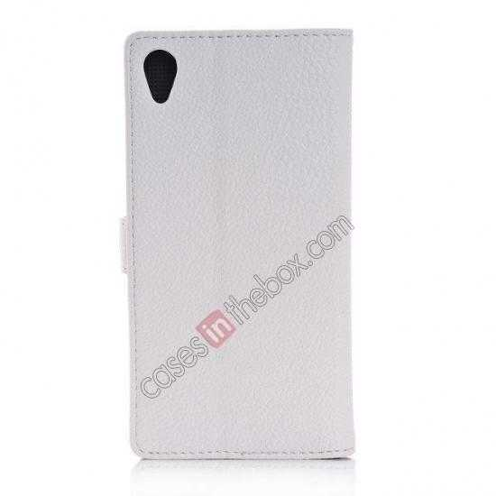 cheap Lichee Pattern Leather Stand Case for Sony Xperia Z2 With Card Slots - White