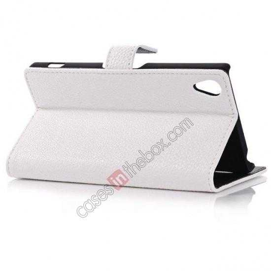 top quality Lichee Pattern Leather Stand Case for Sony Xperia Z2 With Card Slots - White