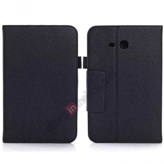 wholesale Litchi Grain Leather Stand Case for Samsung Galaxy Tab 3 7.0 Lite T110 T111 - Black