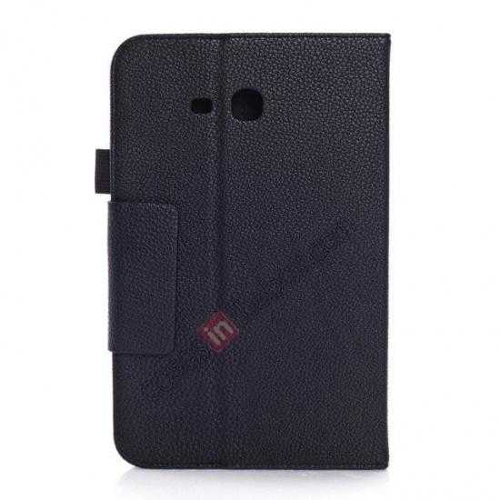 cheap Litchi Grain Leather Stand Case for Samsung Galaxy Tab 3 7.0 Lite T110 T111 - Black