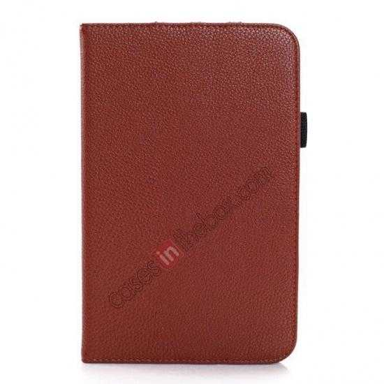 discount Litchi Grain Leather Stand Case for Samsung Galaxy Tab 3 7.0 Lite T110 T111 - Brown