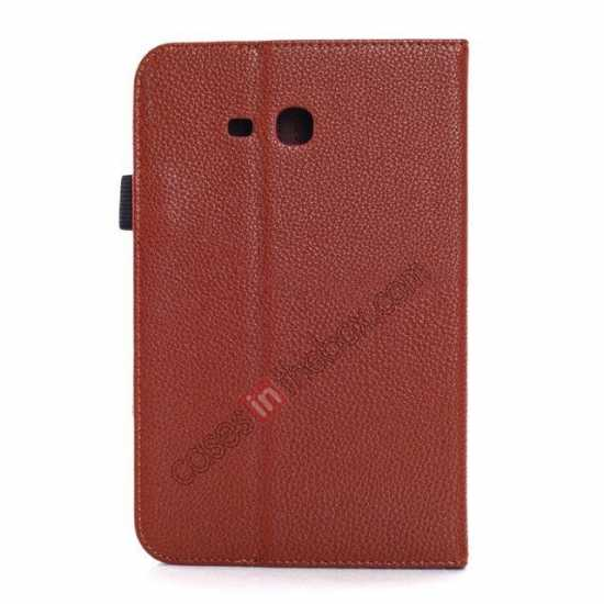 cheap Litchi Grain Leather Stand Case for Samsung Galaxy Tab 3 7.0 Lite T110 T111 - Brown