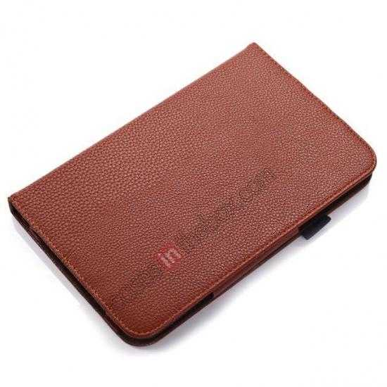 top quality Litchi Grain Leather Stand Case for Samsung Galaxy Tab 3 7.0 Lite T110 T111 - Brown