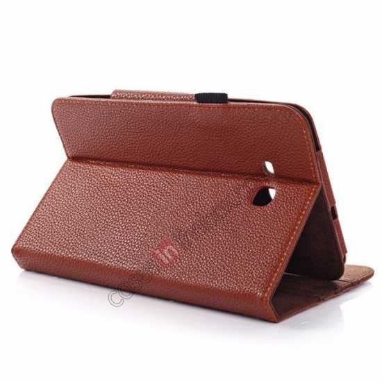 low price Litchi Grain Leather Stand Case for Samsung Galaxy Tab 3 7.0 Lite T110 T111 - Brown