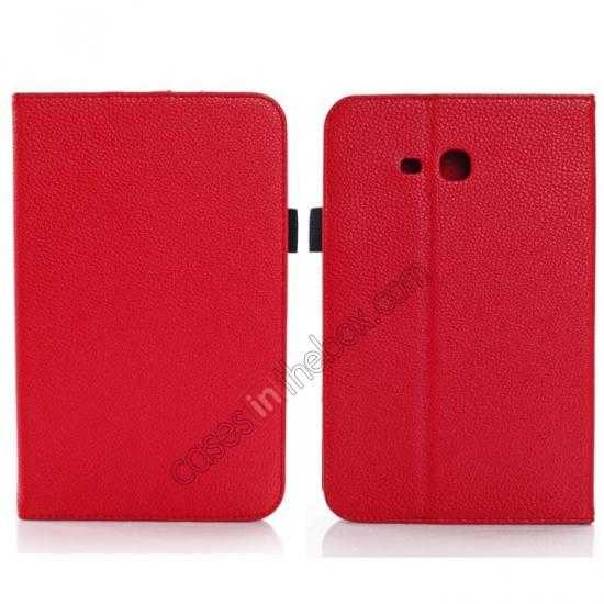wholesale Litchi Grain Leather Stand Case for Samsung Galaxy Tab 3 7.0 Lite T110 T111 - Red