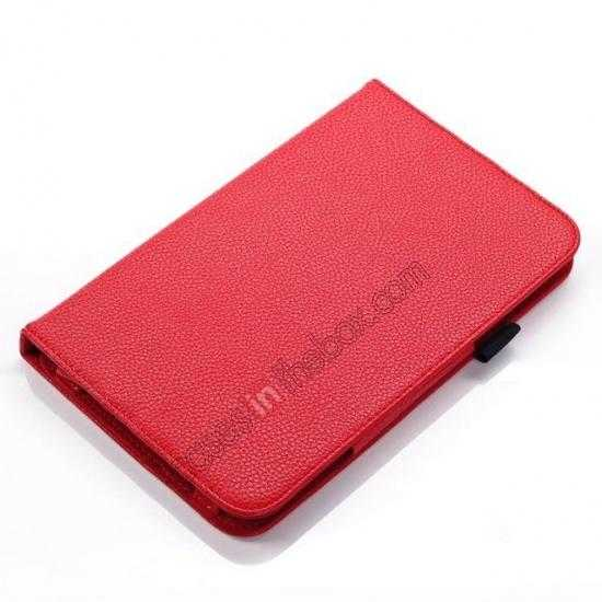 best price Litchi Grain Leather Stand Case for Samsung Galaxy Tab 3 7.0 Lite T110 T111 - Red