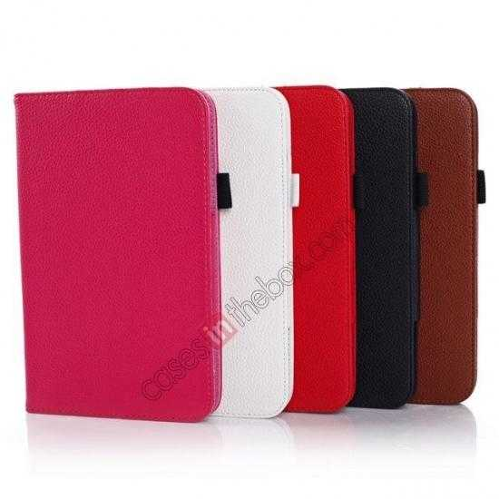 on sale Litchi Grain Leather Stand Case for Samsung Galaxy Tab 3 7.0 Lite T110 T111 - Red