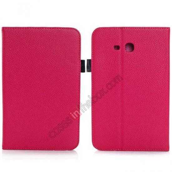 wholesale Litchi Grain Leather Stand Case for Samsung Galaxy Tab 3 7.0 Lite T110 T111 - Rose