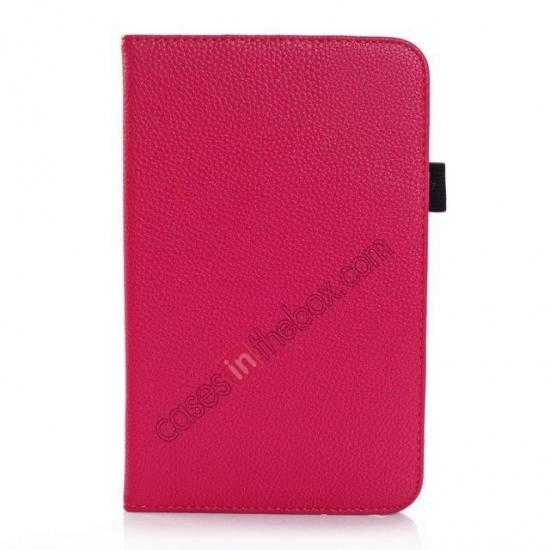 cheap Litchi Grain Leather Stand Case for Samsung Galaxy Tab 3 7.0 Lite T110 T111 - Rose
