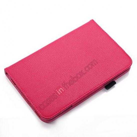 best price Litchi Grain Leather Stand Case for Samsung Galaxy Tab 3 7.0 Lite T110 T111 - Rose