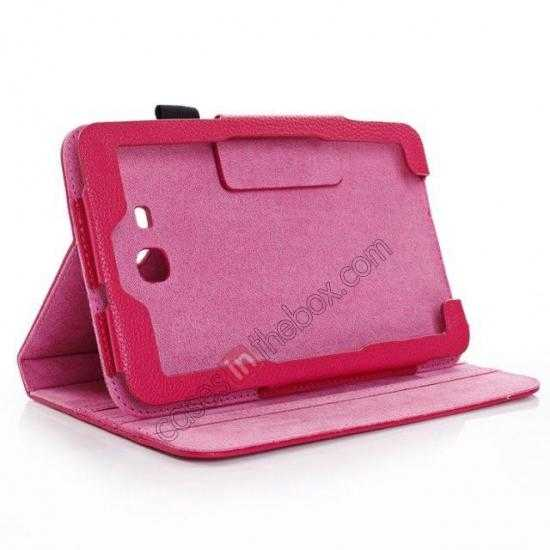 low price Litchi Grain Leather Stand Case for Samsung Galaxy Tab 3 7.0 Lite T110 T111 - Rose